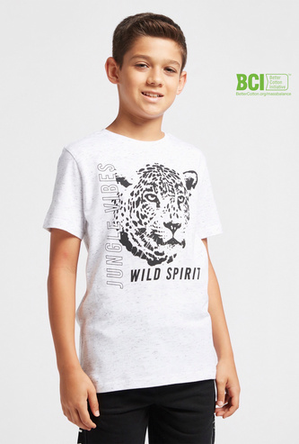 Graphic Injected Print T-shirt with Crew Neck and Short Sleeves