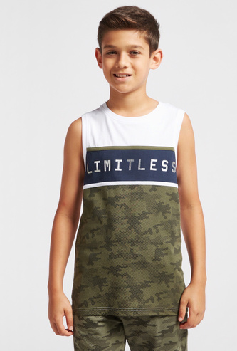 Text Print Panel Detail Sleeveless Vest with Round Neck