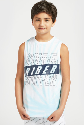 All-Over Print Sleeveless Vest with Round Neck