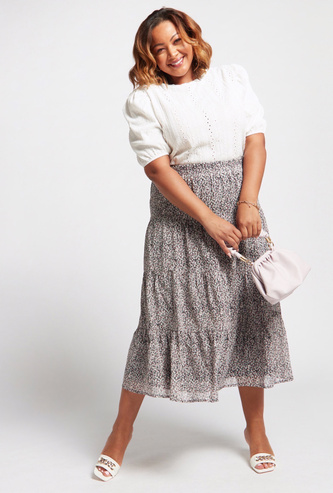 All-Over Floral Print Tiered Skirt with Elasticised Waistband