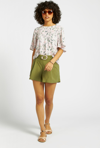 Textured Shorts with Belt