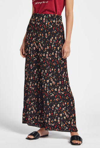 All-Over Floral Print Pleated Palazzo Pants with Elasticised Waistband