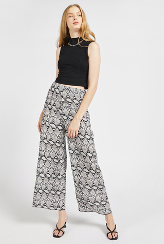 All-Over Print Pleated Palazzo Pants with Elasticised Waistband