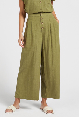 Textured Slub Button Detail Wide Legged Pants with Pockets