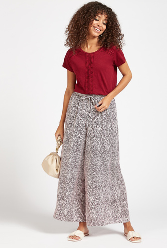Printed Palazzo Pants with Elasticated Waistband and Tie-Ups
