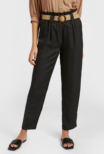 Solid Ankle-Length Pants with Paper Bag Waist and Textured Belt