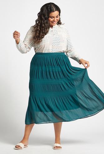 Smocked Midi A-line Skirt with Elasticised Waistband