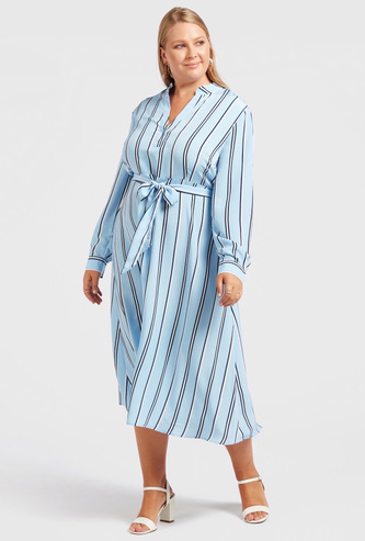 Striped Midi A-line Dress with Long Sleeves and Belt
