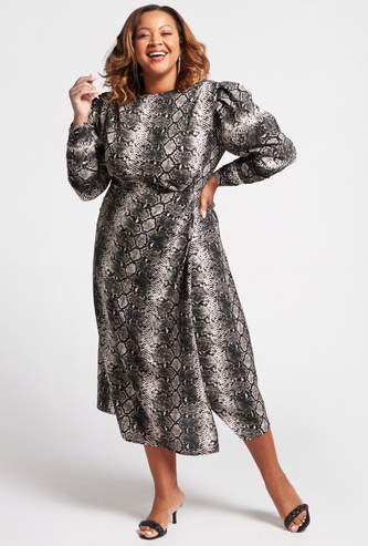 All-Over Animal Print A-line Midi Dress with Puff Shoulders
