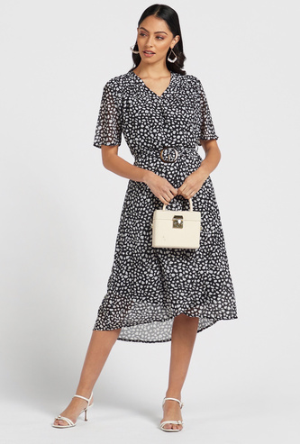 Printed Midi Wrap Dress with V-neck and Buckle Trim