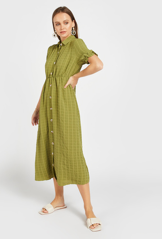 Textured Midi Shirt Dress with Spread Collar and Short Sleeves