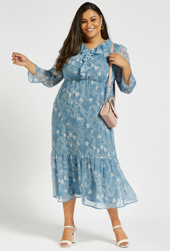All-Over Floral Print Tiered Midi Dress with Ruffle V-Neck