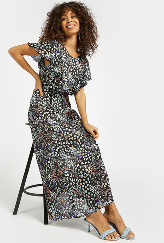 All-Over Floral Print Maxi A-line Dress with Frill Sleeves