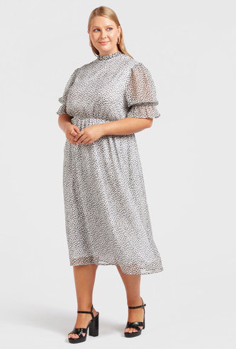 All-Over Print Midi A-line Dress with Pie Crust Neck and Short Sleeves