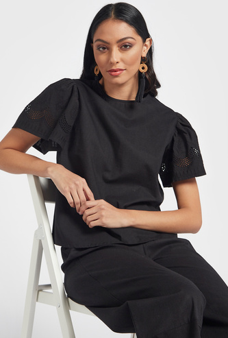 Solid Top with Broderie Anglaise Sleeves and Crew Neck