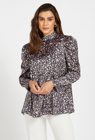 All-Over Floral Print Top with High Neck and Power Shoulder
