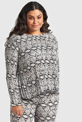 Printed Top with Pleat Detail and Long Sleeves