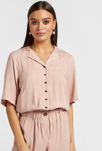 Solid Resort Shirt with Spread Collar and Elasticised Hem