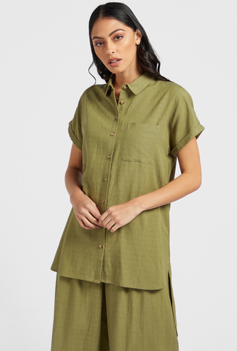 Textured Shirt with Short Sleeves and High-Low Hem