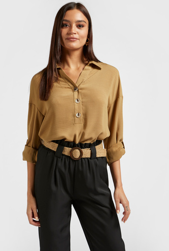 Solid Shirt with Long Sleeves and Collar