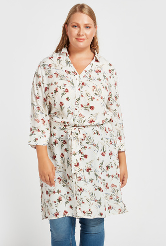 All-Over Floral Print Tunic Shirt with 3/4 Sleeves and Tie-Ups