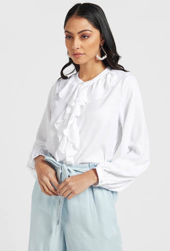 Solid Ruffle Detail Blouse with Long Sleeves