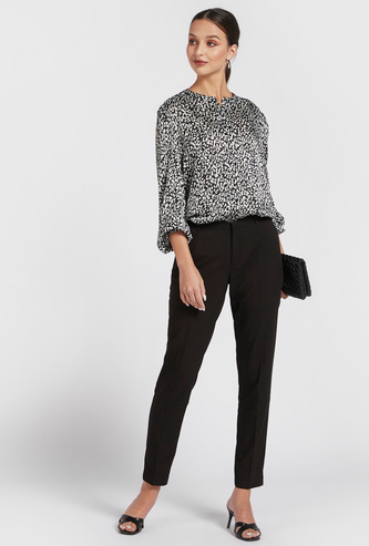 All-Over Print Longline Shirt with Mandarin Collar and Bishop Sleeves