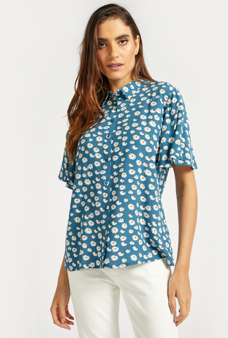 Floral Print Flutter Sleeves Shirt with Button Closure