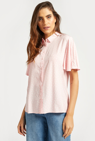 Polka Dot Flutter Sleeves Shirt with Button Closure