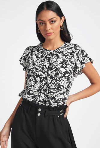 Floral Print Top with Pintuck Detail and Flutter Cap Sleeves