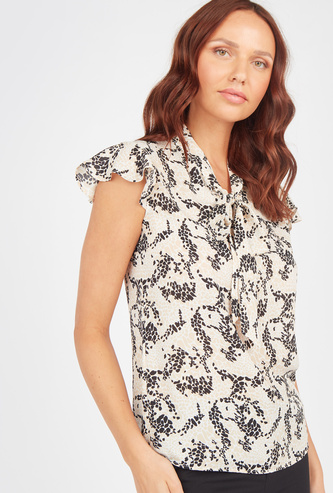 Printed Top with Ruffle Sleeves and Tie Ups