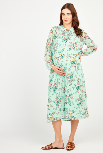 Floral Print Maternity Midi A-line Dress with Long Sleeves and Tie Ups
