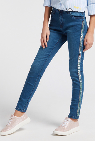 Sequin Detail Jeans with Pockets and Button Closure