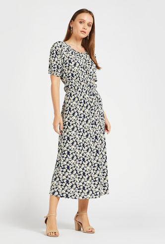 Floral Print A-line Midi Dress with Round Neck and Short Sleeves