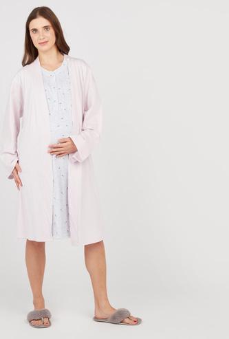 فستان نوم للحوامل بياقة مستديرة وطبعات مع روب