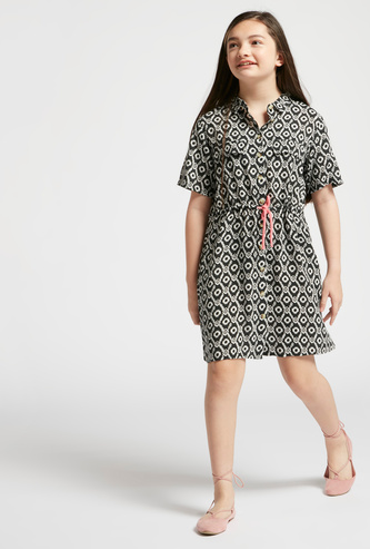 All-Over Print Shirt Dress with Spread Collar and Short Sleeves