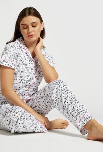 Slogan Print Shirt and Full-Length Pyjama Set