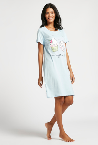 Graphic Print Sleepshirt with Round Neck and Short Sleeves
