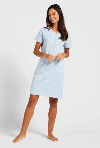 Printed V-neck Sleepshirt with Short Sleeves