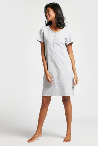 All-Over Print V-neck Sleepshirt with Short Sleeves
