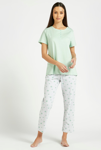 Solid Short Sleeves T-shirt and All-Over Print Pyjama Set