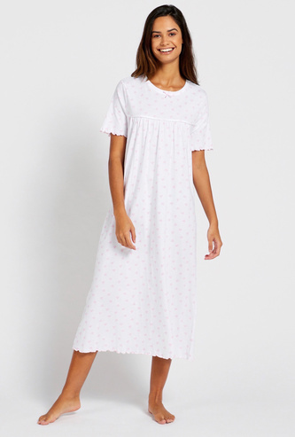 Printed Round Neck Sleep Gown with Short Sleeves