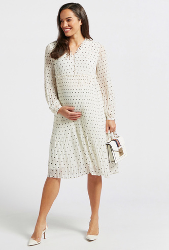 Polka Dots Print Pleat Detail A-line Maternity Dress