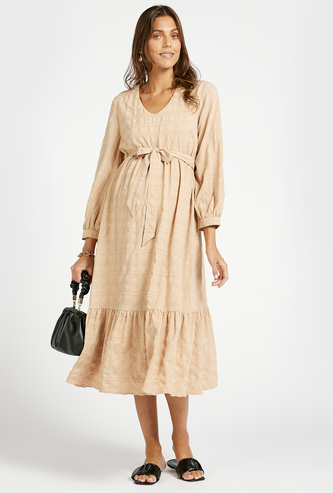 Textured Midi Tiered Maternity Dress with Long Sleeves and Tie-Ups