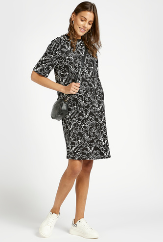 All-Over Bambi Print Maternity T-shirt Dress with Crew Neck