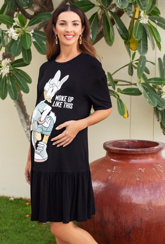 Daisy Duck Graphic Print Midi T-shirt Dress with Short Sleeves