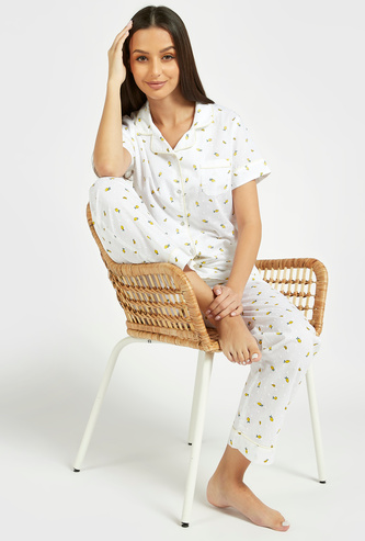 All-Over Print Short Sleeves Sleepshirt and Pyjama Set