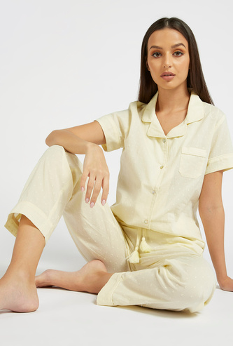 Textured Short Sleeves Sleepshirt and Pyjama Set