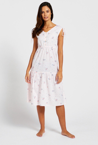 All-Over Print Sleeveless Sleep Dress with V-neck and Tie-Ups