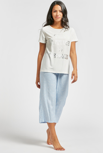Slogan Print Round Neck T-shirt and Contrast Pyjama Set